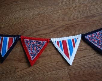 Union Jack Bunting, British Themed Bunting, London Bunting, Bunting, Handmade Bunting, Felt Bunting, 2 Metre Length Bunting, 2m Bunting