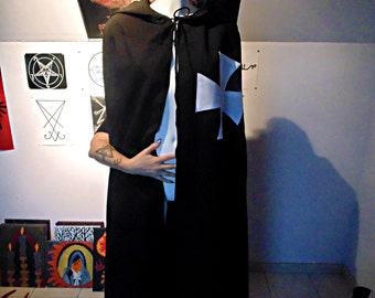 satanic occult dark medieval black templar knight hooded cloak robe cape
