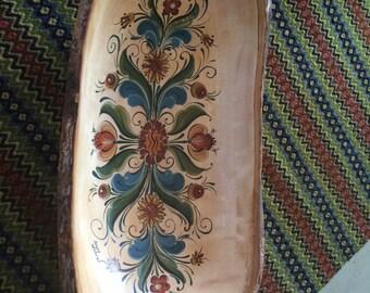 Hand painted bark edged bowl