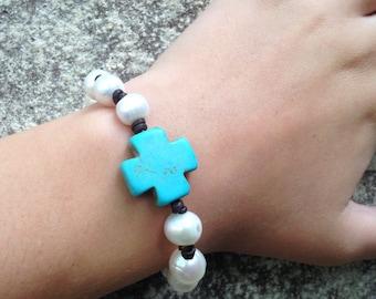 Pearl and Cross Bracelet