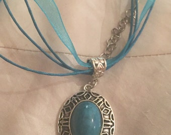 Howlite turquoise blue silver pendant organza ribbon necklace