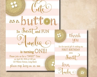 "Birthday Invitation & Thank you Note..""Cute as a Button"" / DIGITAL FILES/  printable / wording and colors can be changed on both"