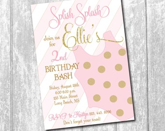 Adorable Swim Party Invitation/DIGITAL FILE/printable/wording and colors can be changed
