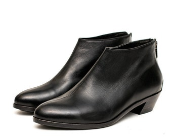 Women's leather shoes handmade / leather sole / small heel