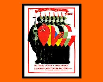 Soviet Propaganda Print - Soviet Poster Russian Print Cccp Poster Communism Poster Soviet Wall Art Gift Idea Sovietic Prints