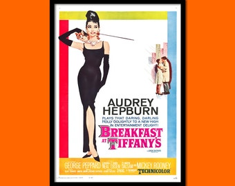 Breakfast at Tiffany's Poster 1961 - Audrey Hepburn Poster Retro Movie Poster Wall Decor Poster Old Movie Print   bp Reproduction