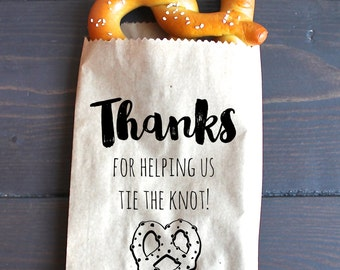 Tie the Knot Wedding Favor Bags, Pretzel Favor, Favor Bags - Kraft Paper Bags
