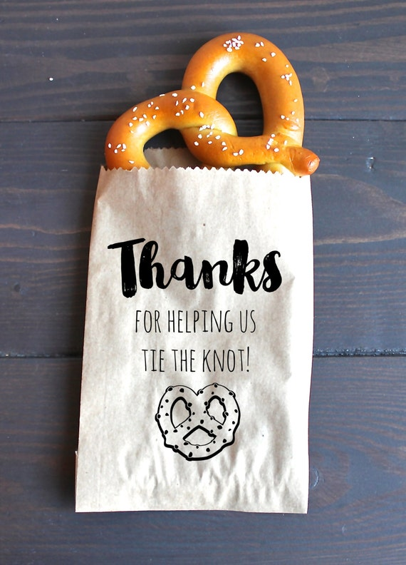 tie the knot wedding favor bags pretzel favor favor bags