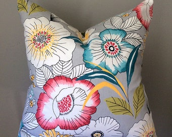 Grey pillow cover,  Floral Throw Pillows, Pillow, Pillow Cover, Decorative pillows, cushion cover, home decor, any sizes
