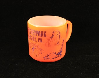 Vintage Federal Milk Glass Mug, Hershey Park, Orange with Blue Graphics