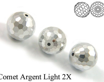 11 pieces Vintage Swarovski #5003 12mm Crystal Comet Argent Light CAL Disco Ball Faceted Round Beads