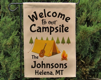 Welcome to our Campsite Personalized Camping Garden Flag or Wall Hanging, Camping Sign, Father's Day Gift, Stand NOT Included EYF-037