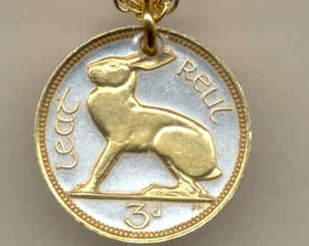 """Irish """"Rabbit"""", Coin Necklace, Gorgeous 2-Toned """"Gold on Silver"""""""