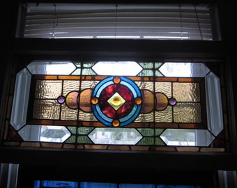 c.1910 Antique Combination Stained Glass Transom Window, 7 jewels, original frame