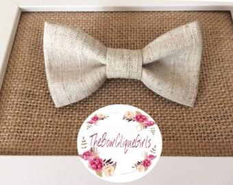 Linen burlap . linen bowtie. burlap bowtie, wedding bowtie , ringbearer, groomsmen, bowties for wedding, rustic wedding, clip on
