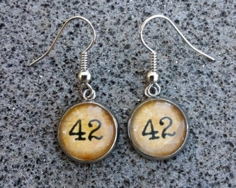 "Hitchhikers Guide to the Galaxy Earrings - ""42"""