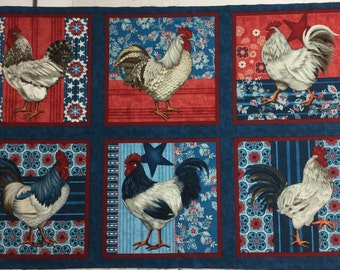 American Folk by Jennifer Brinley for Studio E is a Rooster print with companion fabrics