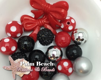 DIY Minnie Red Black and Silver Necklace and/or Bracelet Bead