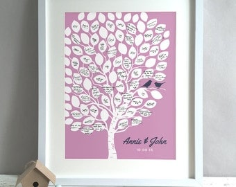 Wedding Tree Guest Book, Guest Book Tree Alternative, Unique Wedding Guestbooks, Custom Personalised Print Poster Decor Ideas (unframed)