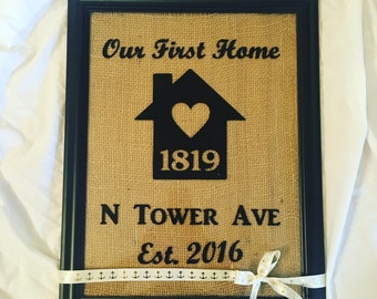 Our first Home Frame\\ personalized First Home decor \\ House warming gift