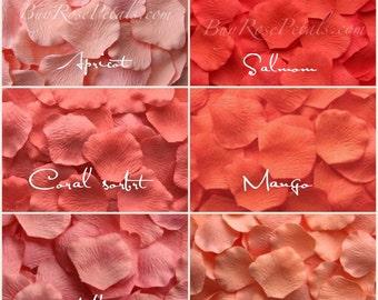 Coral Silk Rose Petals - Shades of Coral Artificial Rose Petals