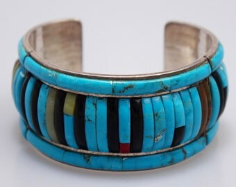 Zuni Cuff Bracelet - Sterling, Turquoise, Coral, Jet, Jade Signed American Indian Tribal Jewelry