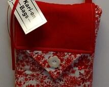 Women's Handmade Cherry Blossom Small Everyday Messenger Tablet Tote Handbag