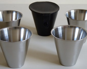 Vintage Metalware - 1960s Danish Stainless Steel Four Cup Travelling Shot Hunting Cup Set