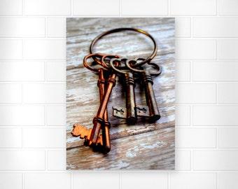Skeleton Keys - Photo Print - Still Life Wall Art - Brass Art - Vintage Keys - Home Decor - Rustic Art - Brass Skeleton Keys - Antique Keys