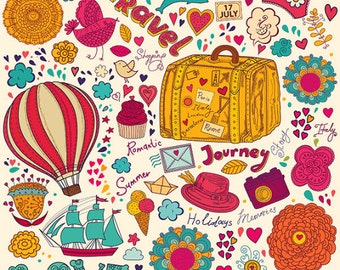 Summer travel illustrations in cartoon style . Fine art prints. Beautiful print for living room or bedroom.