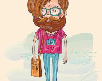 STYLISH MAN in glasses with a beard and mustache. Fine art PRINT. Beautiful print for living room or kids room