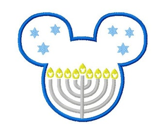 Character Inspired Mouse with Menorah Embroidery Applique Design