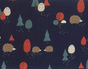Westex Japanese Fabric - Hedgehog Forest Navy - Cotton Shirting