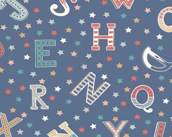 Blue Vintage Letter Print Cotton Fabric, Quilting and Patchwork Fabric - Fat Quarter