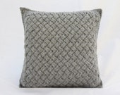 Hand Knitted Cushion. Knitted Scatter Pillow. Textured Cushion, Basket Weave Stitch. Square 33 x 33cm. Pale Grey Knit. Scandi Style