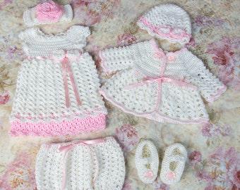 Newborn dress set, baby dress set, baby clothes, newborn baby girl dress, newborn sweater set, baby girl sweater set, baby shower gift