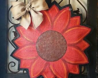 Sunflower burlap door hanger, Summer or fall door decor