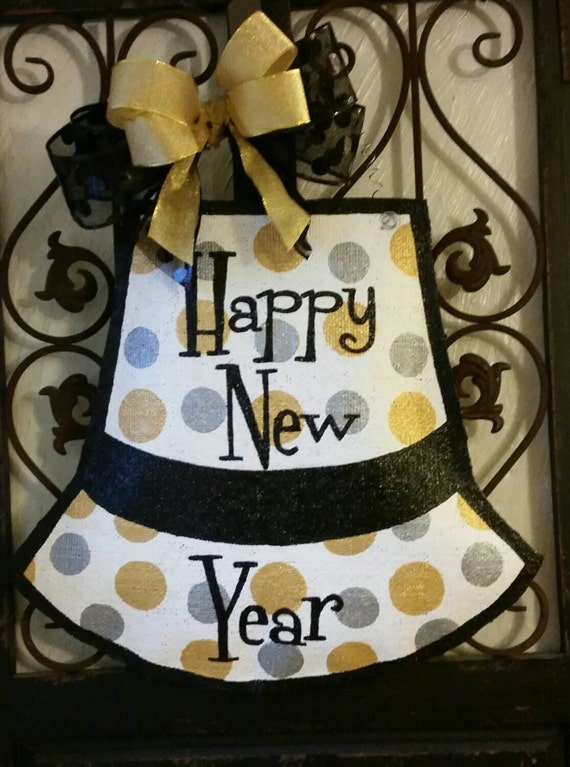 Happy New year door decor. Hand painted burlap door hanger.