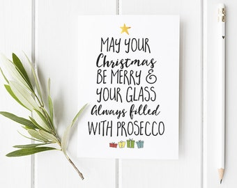Prosecco Christmas Card Funny Christmas Card With Prosecco Christmas Tree Style Theme Great Christmas Card For Friends / Mum / Family