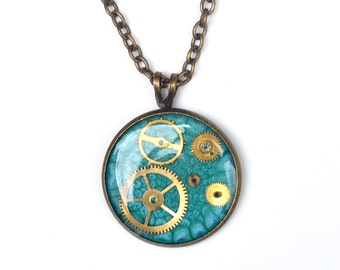 Steampunk Necklace, Turquoise Pendant, Watch Parts Necklace, Small Clockwork Necklace, Gears Necklace, Steampunk Jewelry, Resin Pendant