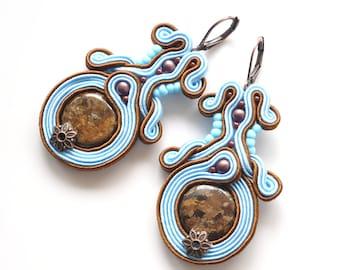 Baby Blue Brown Earrings, Bronzite Jewelry, Oriental Earrings, Soutache Jewelry, Long Dangle Earrings, Summer Jewelry, Soutache Pendientes