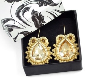 Small Earrings, Glamour Earrings, Dangle Gold Earrings, Minimalist Jewelry, Classy Earrings, Bridal Crystal Earrings, Maid Of Honor Gift