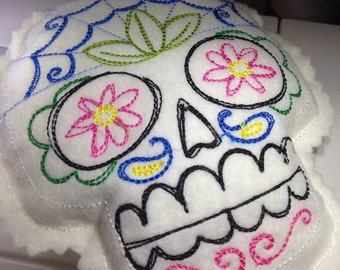 Felt Embroidered Pin Cushion - Sugar Skull Design - Sewing Kit Notions