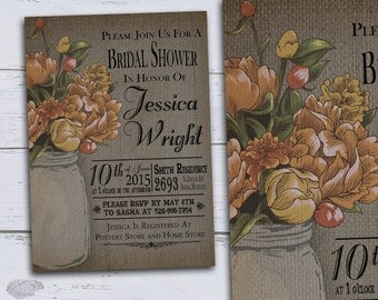 DIY Country Bridal Shower Invitations, Rustic Wedding Shower Invites, Printable Fall Bridal Shower, Mason Jar Autumn Floral Wedding Shower