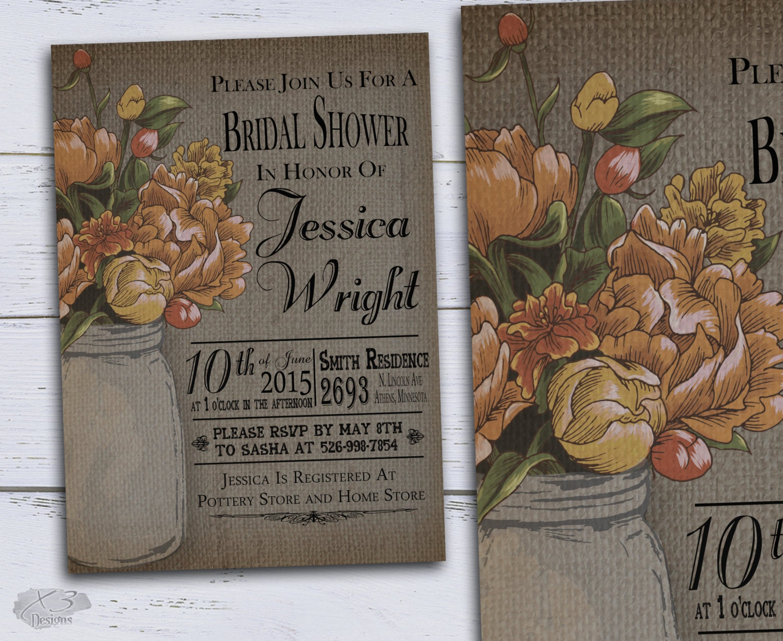 Fall Wedding Shower Invitations: DIY Country Bridal Shower Invitations Rustic Wedding Shower