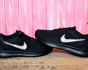 Swarovski Nike Free RN Running Shoes Customized With Swarovski Crystals Bling Nike Shoes