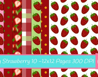 Strawberry Digital Papers, Strawberries Scrapbook Papers, 10 Printable Digital Papers, 12 x 12, 300 DPI, Printable