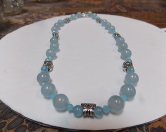 Hand made beaded necklace, One of a kind w/ Aquamarine