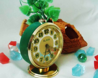 Vintage Alarm Clock ,Soviet Clock, Russian Clock , Mechanical Clock , Dark Green clock , Slava,Vintage Russian Alarm Clock Soviet SLAVA