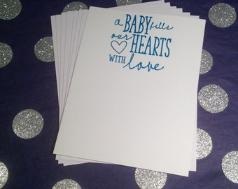 Baby Shower/Boy/Thank You Flat Correspondence Cards - Blue and White - Set of 8